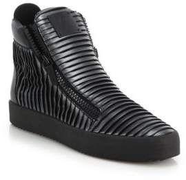 Giuseppe Zanotti Folded Double-Zip Leather High-Top Sneakers