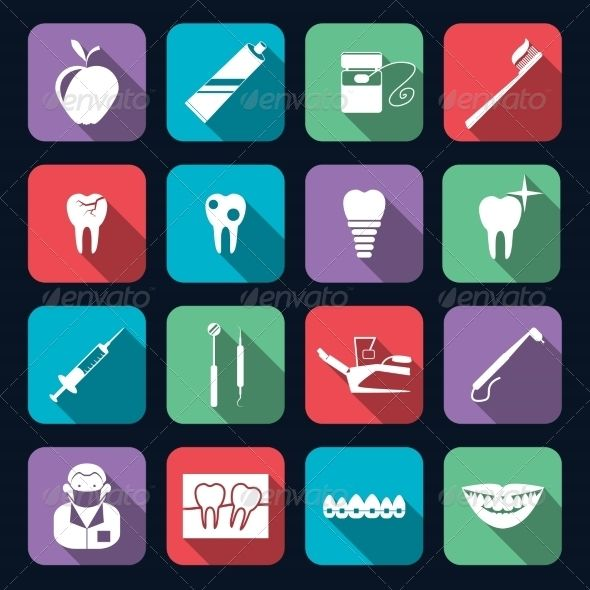 Dental Icons Flat — JPG Image #mouth #pictogram • Available here → https://graphicriver.net/item/dental-icons-flat/8186444?ref=pxcr