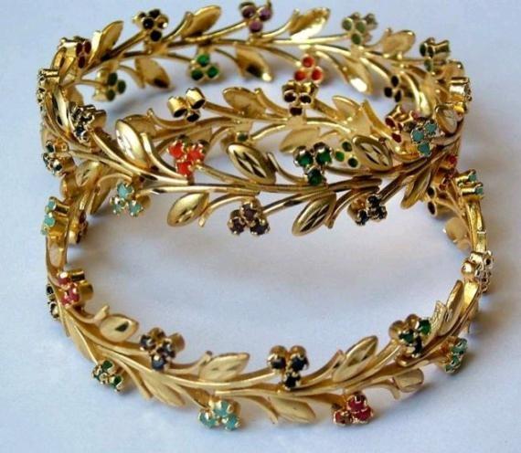 Indian Jewellery- Multi Gemstone Gold Plated Leaf Wreath Vine Bangle Bracelet Pair Navratna