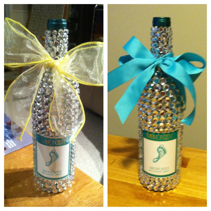 90 best bedazzled booze bottles and other diy 21st for Diy wine bottle gifts