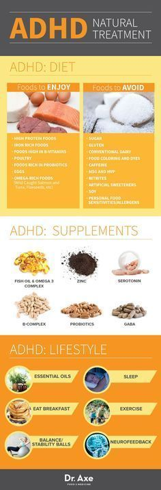 Symptoms of ADHD, Diet & Treatment - Dr. Axe ADHD Natural Treatment Infographic Chart #Diet