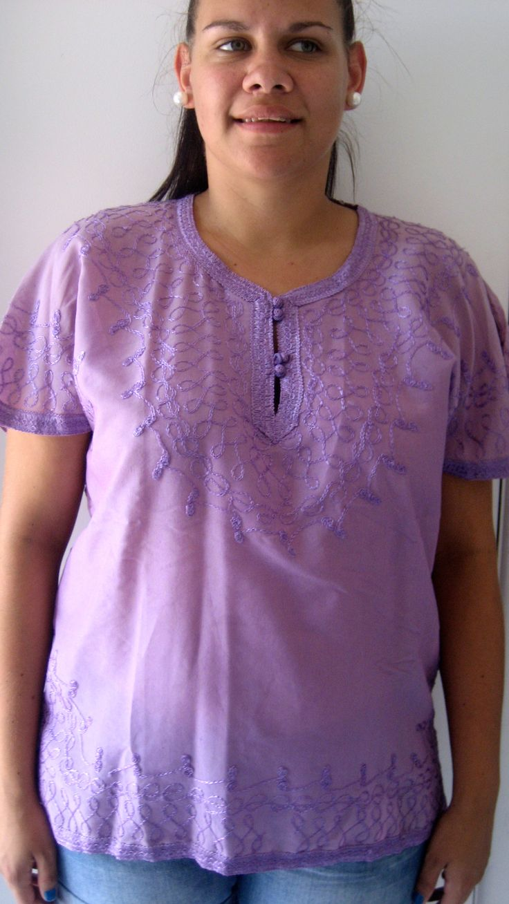 L / AU 12 $35 L: 68cm B: 110cm   Moroccan made purple vintage top. Beautiful stitching detail on the sleeves, front and bottom and also on the back. This top is semi sheer....