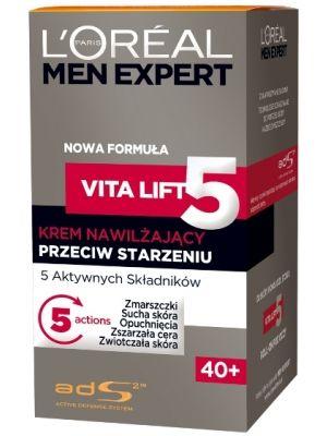L'OREAL 50ml Men Expert Vita Lift 5 40+ Krem nawilżający przeciw starzeniu  • 5 aktywnych składników • zaawansowane badania • technologie dopasowane do potrzeb skóry każdego mężczyzny aktywny czynnik łagodzący, by wspomagać naturalną odporność skóry