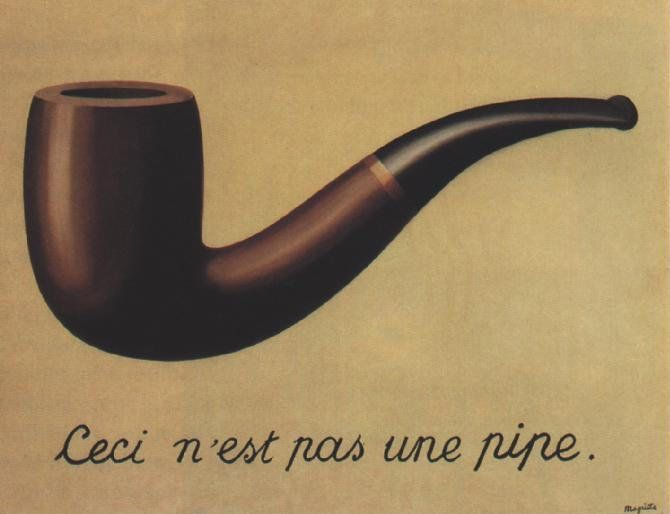 The Treachery of Images by Rene Magritte, 1928-29. This painting by Belgian Surrealist Rene Magritte has become a bit of an iconic image in modern art. The French phrase is translated as 'This is not a pipe': what does Magritte this mean? If you were showed this image without the writing and I asked you what it was, you would probably say 'It's a pipe, you idiot'. But is it a actually pipe? … Magritte is asking us to rethink our reality and realise that this is only an image of a pipe, hence…