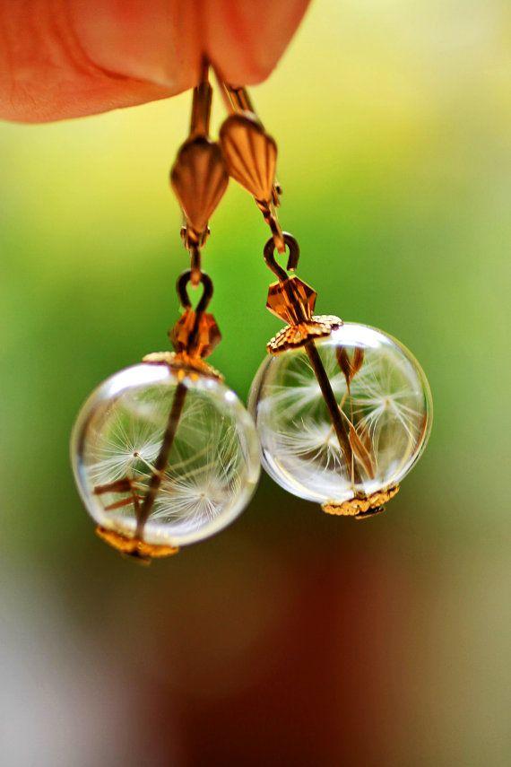 Real dandelion earrings botanical jewelry by RubyRobinBoutique, €22.00