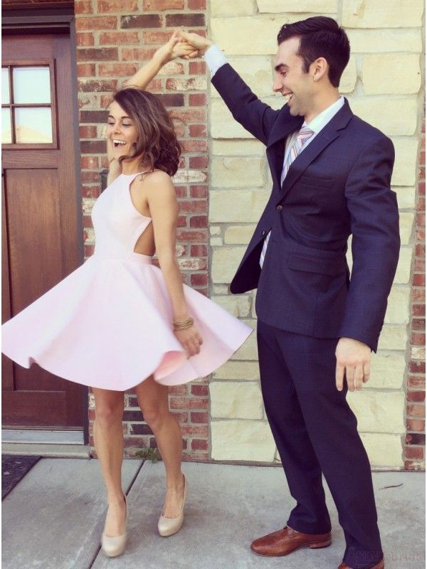 Good Cut A-line Pink Short Backless Homecoming Dress Party Dress #SIMIBridal #homecomingdresses