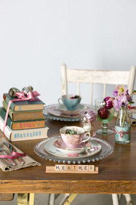 vintage tablescape - scrabble place names: Table Settings, Placecard, Book Club, Teas Time, Idea, Tables Sets, Place Card, Scrabble Tiles, Teas Party