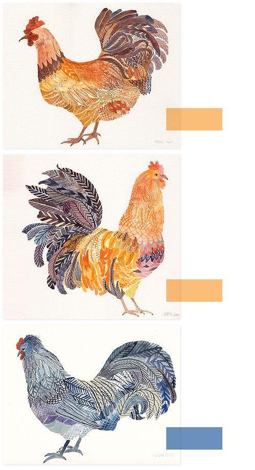 #UnitedThread, #chickens, illustration