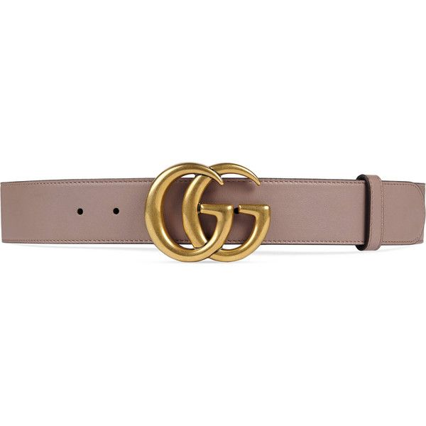 Gucci Leather Belt With Double G Buckle ($390) ❤ liked on Polyvore featuring accessories, belts, gucci, pink, women, leather buckle belt, buckle belt, genuine leather belt and pink belt