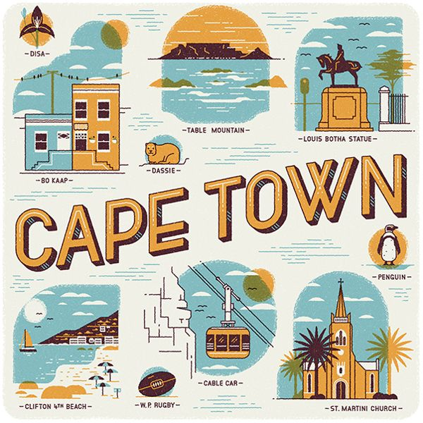 Cape Town illustrations   Wish You Were Here Calendarsouth africa