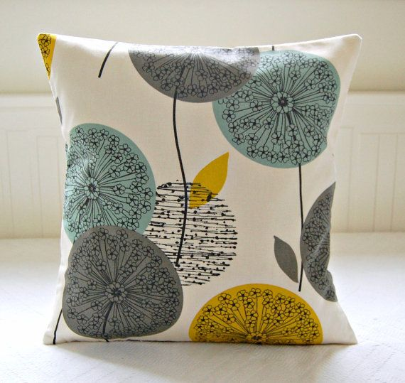 mustard teal grey pillow cover dandelion flower by LittleJoobieBoo, £17.90