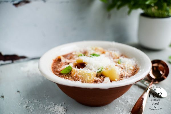 A quick and easy pizza pasta soup, ideally made with leftover tomato or Bolognese sauce
