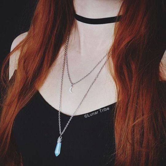 Black velvet choker and double necklace are both available in my shop - just click on the link in my profile 🌙 #choker #chokernecklace #velvetchoker #necklace #jewelry #witchywoman #witchy #witchesofinstagram #witch #pagan #redhair #redhead #gothgirl #gothic #goth #gothgoth #handmade #etsy #etsyshop #smallbusiness #paleskin #crystal #crystals #crystaljewelry #silvernecklace #blackchoker #witchyvibes #etsycult #occult