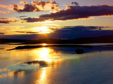 Midnight Sun in Rovaniemi in Finnish Lapland.