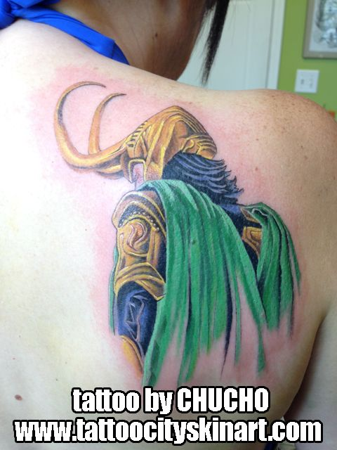 loki cape marvel villain avengers color tattoo by Chucho. Tattoo City Skin Art, Lockport, IL www.tattoocityskinart.com