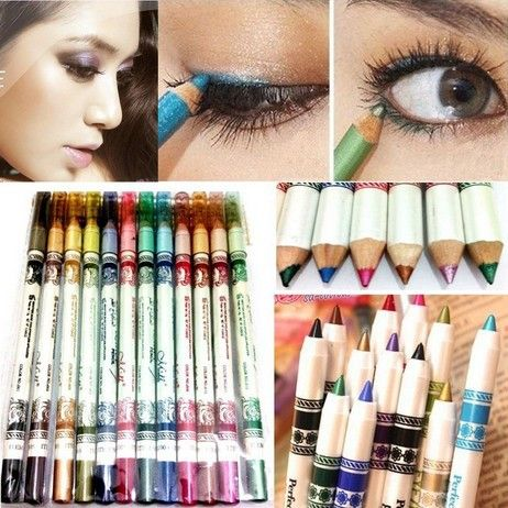 Hot 12 Colors Glitter Lip liner Eye Shadow Eyeliner Pencil Pen Cosmetic Makeup Set Mix colors Free Shipping $7.90 (free shipping)