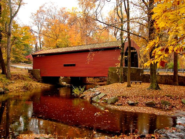 """Bartram Covered Bridge-1860 ~ """"High and wide as a load of hay"""" - carries Goshen Road over Crum Creek -  Cost shared by Delaware and Chester counties in Pennsylvania."""