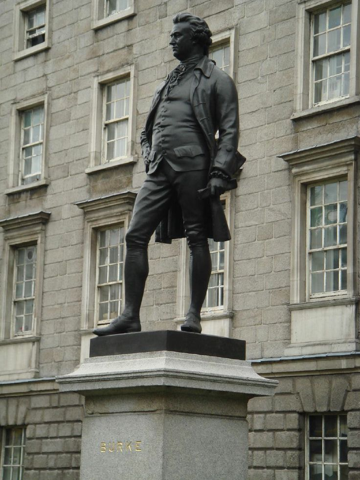 A statue of Edmund Burke that stands outside his alma mater, Trinity College, Dublin.