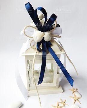 Bomboniere Matrimonio Lanterna Shabby Chic Con Conchiglie in un bellissimo color Avorio, confezionate e pronte da dare ai vostri invitati!