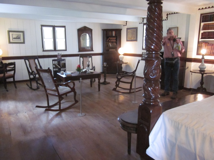 """Habitation Clement - Main bedroom (upstairs). Interesting that there is a """"meeting area"""" in the bedroom - traditional for doing business in creole culture."""