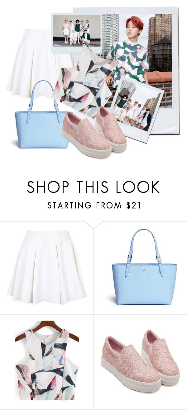 """""""BTS inspired by Jimin outfit"""" by schnpri ❤ liked on Polyvore featuring Topshop, Tory Burch, kpop, bts and jimin"""