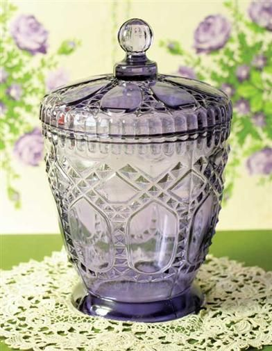 "The Victorians held the belief that violet glass ensured good fortune within the home. Gift boxed. 7"". VTC Exclusive! $19.95"