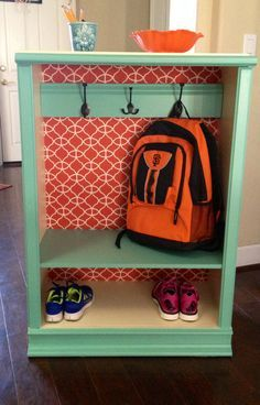 DIY Back to school backpack/coat storage Made from an inexpensive bookshelf. Perfect height for those little guys or gals!