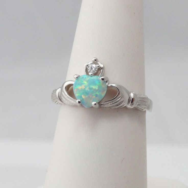 AgHalo - Opal Claddagh Ring in 925 Sterling Silver, $22.00 (http://www.aghalo.com/opal-claddagh-ring-in-925-sterling-silver/)
