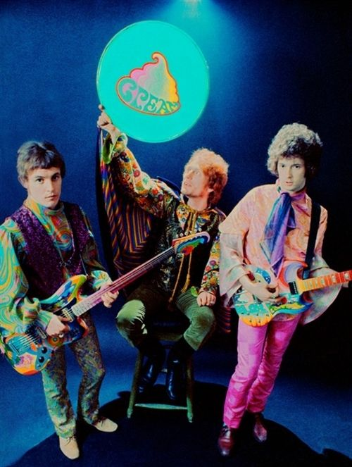 Cream : Jack Bruce - Ginger Baker - Eric Clapton, they all had stylists and it WAS the 60's but pink pants..Oh Eric!
