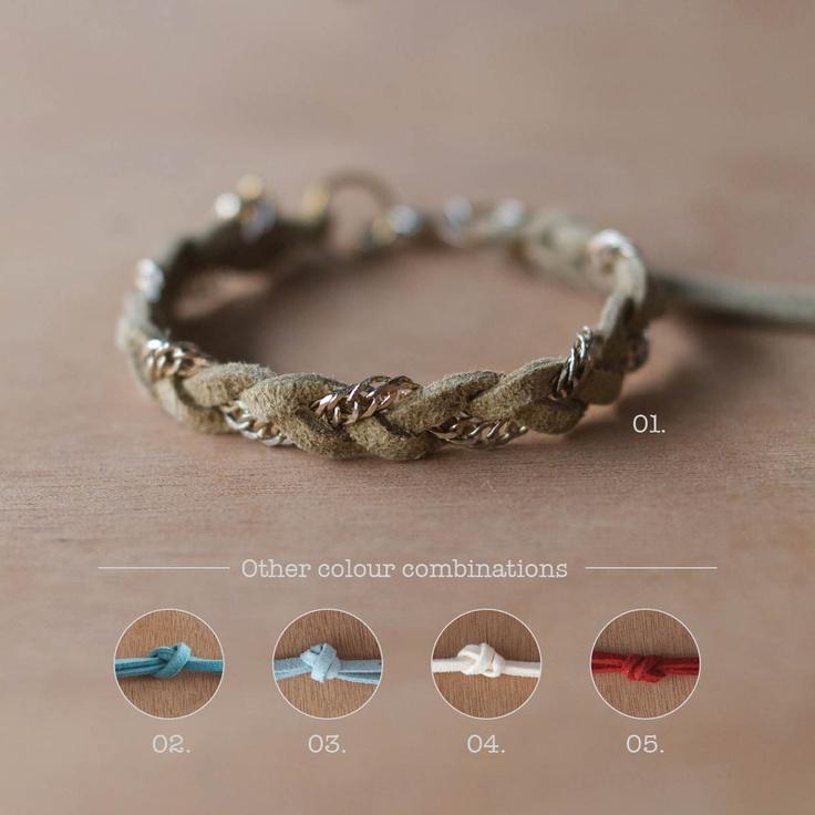 Hand braided suede & chain friendship bracelet. $10,00, via Etsy.