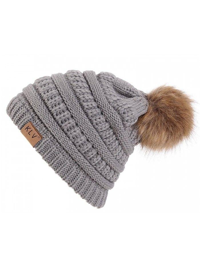 3c7a50a3a Women Knitting Pom Pom Beanie Hair Ball Hat Winter Skull Cap - Light ...