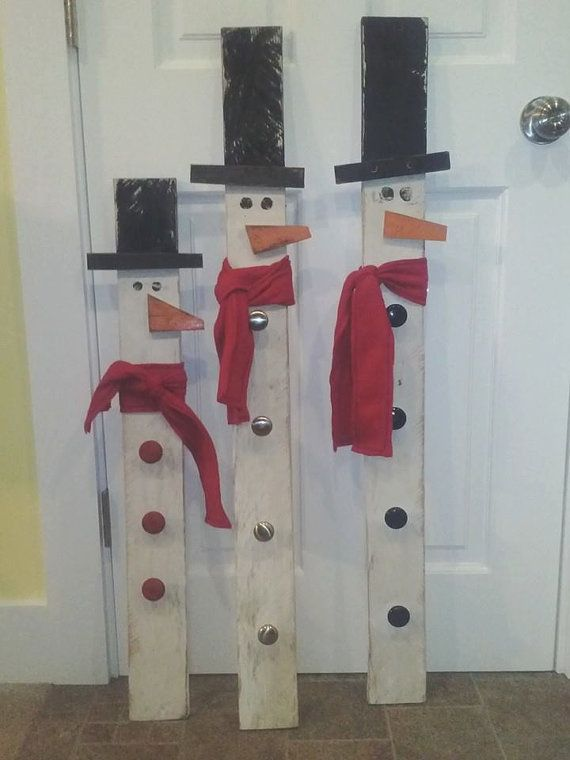 Primitive Snowman made from Reclaimed Wood