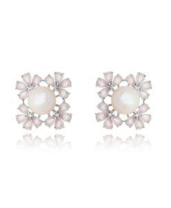 brinco flor com zirconias quartzo rosa e pérola com banho de rodio semi joias online