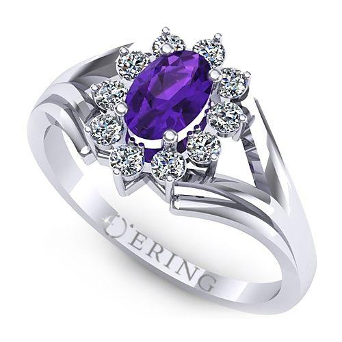 Inel logodna L17AAM inel cu ametist si diamante