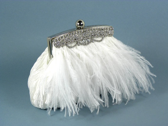 Ostrich Feather Wedding Purse White with Rhinestone Trim..but I would prefer faux ostrich feathers