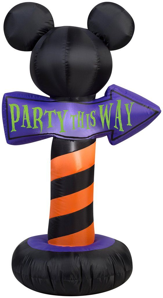 35 airblown mickey ears with party this way sign halloween inflatable - Halloween Inflatables Clearance