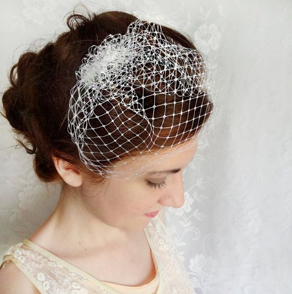 mini birdcage veil white wedge wedding veil small by thehoneycomb, $35.00