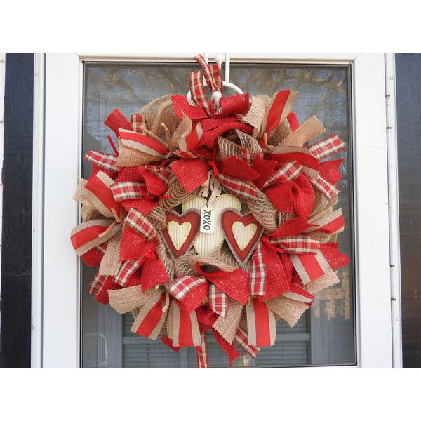 Grapevine Heart Burlap Deco Mesh Wreath ($62) ❤ liked on Polyvore featuring home, home decor, burlap ribbon wreath, grape vine wreath, heart home decor, berry wreath and burlap mesh wreath