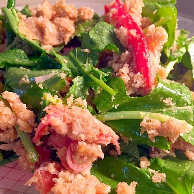 じじばばに不評。だがしかし、わたしは超好きな味 - 159件のもぐもぐ - バルサミコハチミツドレッシングシミシミのおからとルッコラのサラダ。 by takejyo