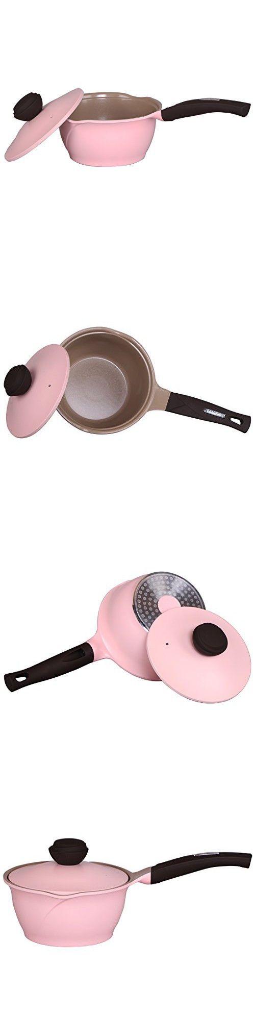 TAIFENG Modern Nonstick Ceramic Milk Pan With Pot Lid,1 Quart Butter Warmer,Pink Stockpot,1 Piece Saucepan
