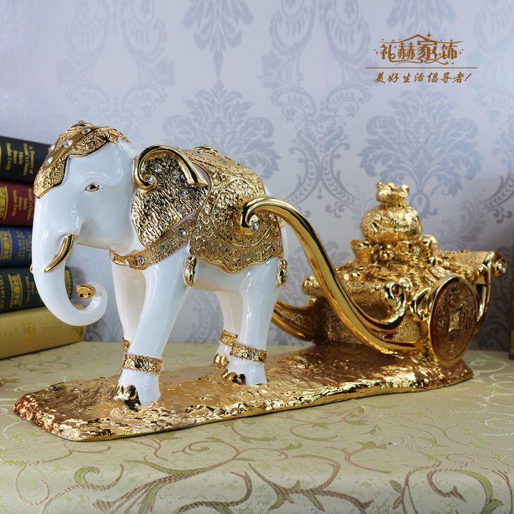 Ouro-banhado sorte carrinho como mobiliário decorações Home Mobiliário elefante enfeites de sala de estar presentes de negócio(China (Mainland))