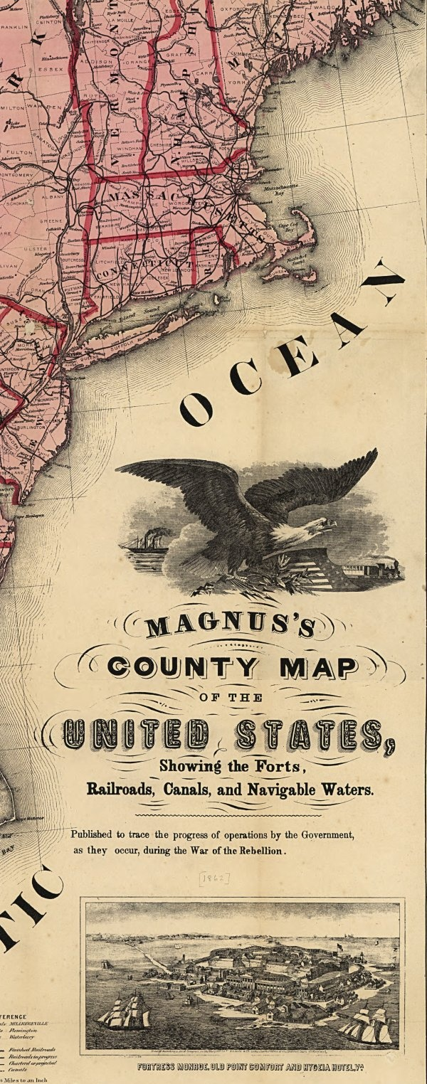 Magnus's county map of the United States, showing the forts, railroads, canals, and navigable waters. Published to trace the progress of operations by the government, as they occur, during the War of the Rebellion. New York, published by Charles Magnus [1862].  (Click for Deeply Zoomable Version)