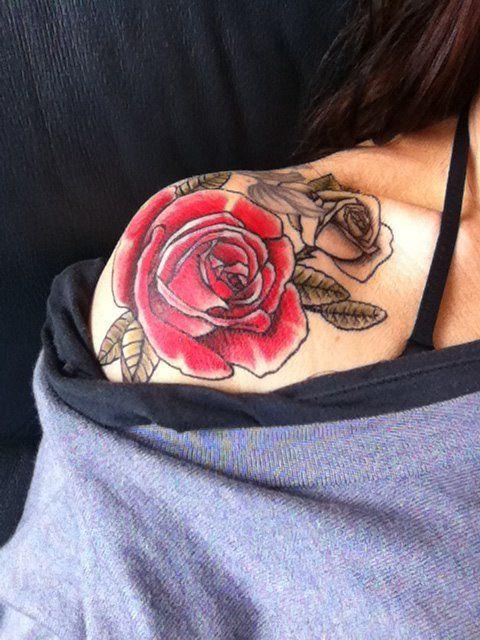 Shoulder rose tattoo | tattoo love | Pinterest | Hot pink ...
