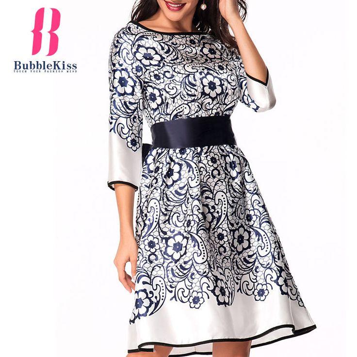 Vintage Summer Floral Dress Women Pattern Elegant Dress Party Flowers Floral Tie Belt Formal Skater Dress Vestidos robe femme #jewelry, #women, #men, #hats, #watches, #belts, #fashion
