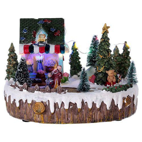 c7894b7c4d7 Pueblo de Navidad 15x20x10 cm tienda luces música movimiento árbol   miniaturasnavidad  pueblonavideño  pueblonavidad