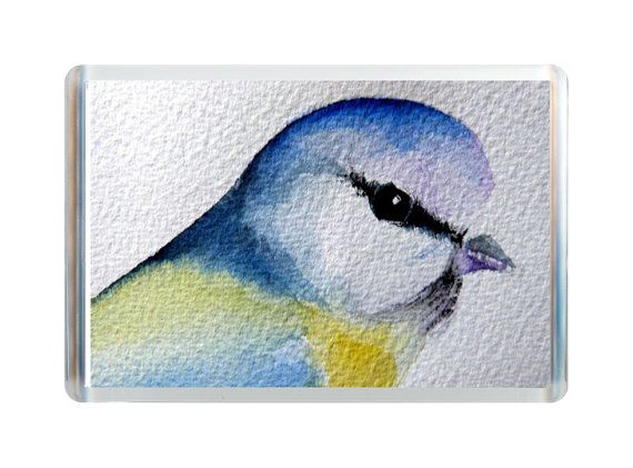 ACEO Print Original Watercolour Painting Refrigerator Fridge Magnet Blue Tit Bird Alison Langridge Endunamis Sussex England UK on Etsy, £4.01