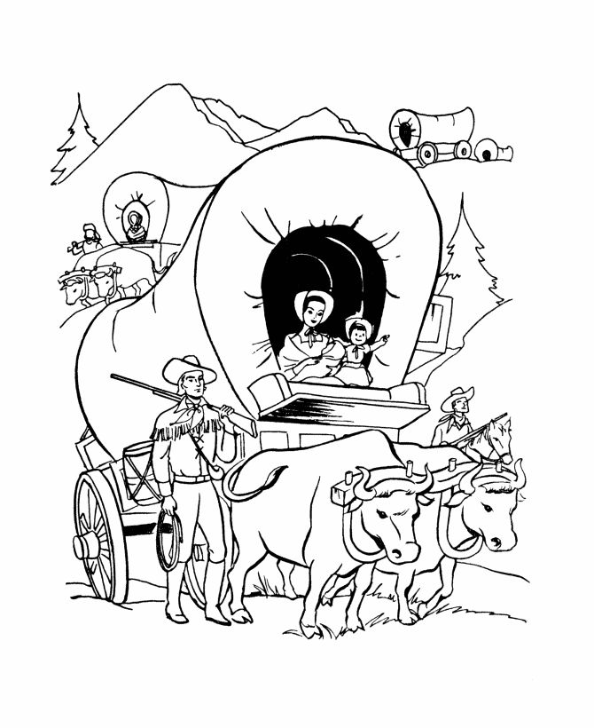 """The America Expansion coloring pages  19th Century American history coloring pages - (1843) - The Oregon Trail  In 1843 Marcus Whitman led a large party of wagons called """"The Great Emigration"""" from Fort Hall in eastern Idaho across the trail, it established the viability of the Oregon Trail for later homesteaders to follow.."""