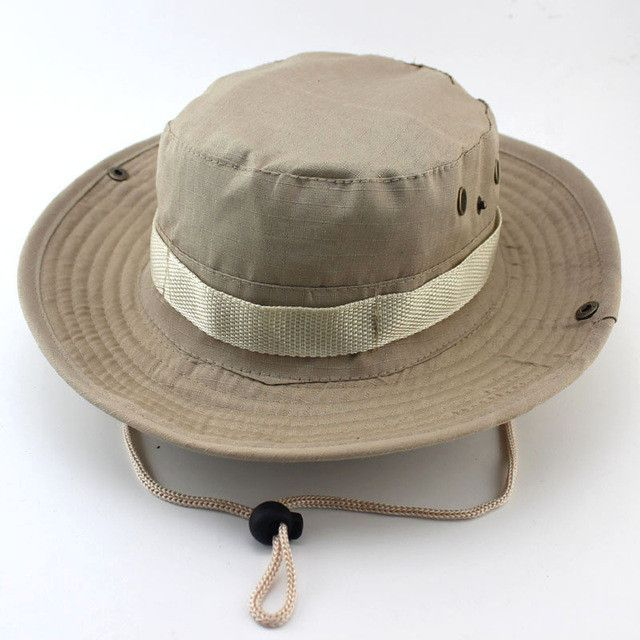 Military Camo Bucket Hat with Strings Camping Hiking Travel Sniper Wide Brim Boonie Hat
