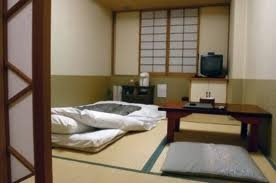 Futons in a traditional Japanese house