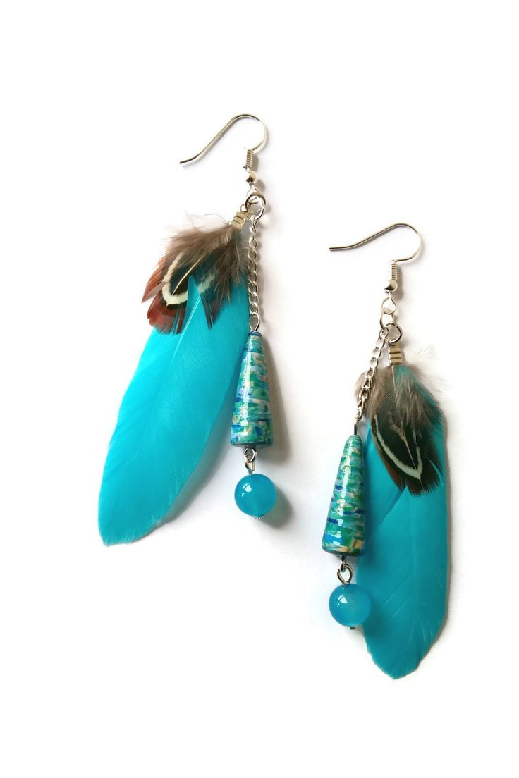 Boucles d\u0027Oreilles Plumes Turquoises Marron Perles en Papier Bleues Perles Pierres  Naturelles